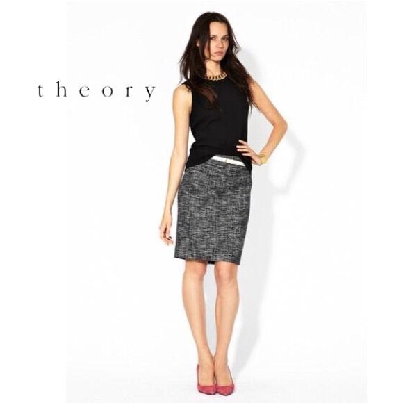 c92877c02a Theory Frida charcoal tweed bouclé pencil skirt 0